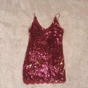 NEW Free People Fuschia/Gold Sequin Dress M